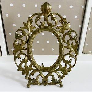 Vintage gold metal frame boho decor filigree